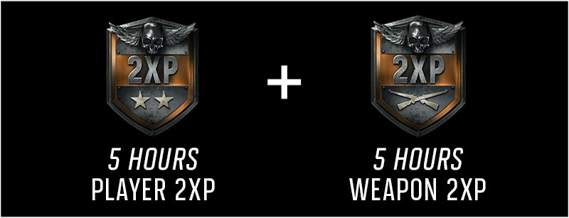 5 hours player 2xp and 5 hours weapons 2xp